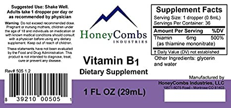 Vitamin B1 (Thiamine) Drops, Alcohol-Free Liquid Extract, Support  Digestion, Maintain Proper Mental