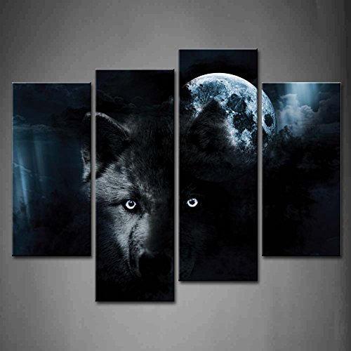 4 Panel Wall Art Black Wolf And Full Moon Painting The Picture Print On Canvas Animal Pictures For