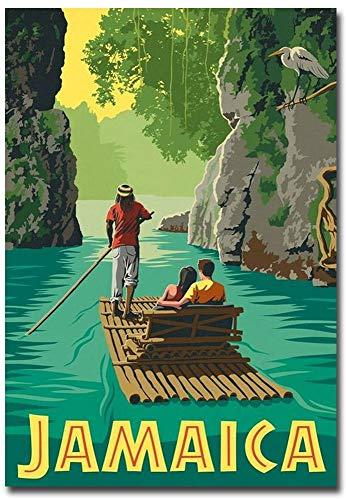 "Jamaica Rafting in Paradise Travel Vintage Art Refrigerator Magnet Size 2.5"" x 3.5"""
