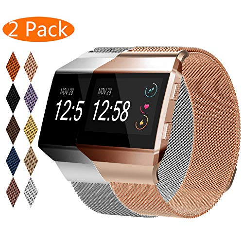 KingAcc Compatible Fitbit Ionic Bands, Milanese Stainless Steel Mesh Metal Replacement Band for Fitbit Ionic, Magnetic Clasp Lock Wristband Strap Women Men (2-Pack, Silver&RoseGlod,Small)