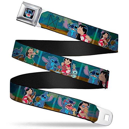 (Stitch Smiling CLOSE-UP Full Color Black Seatbelt Belt - Lilo & Stitch 5-Scene Blocks Webbing REGULAR)