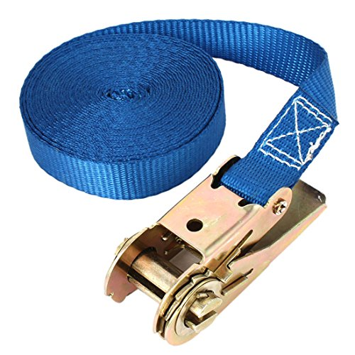Travel Cargo Binding Band Metal Ratchet Tie Down Strap 5M 16ft Blue by uxcell
