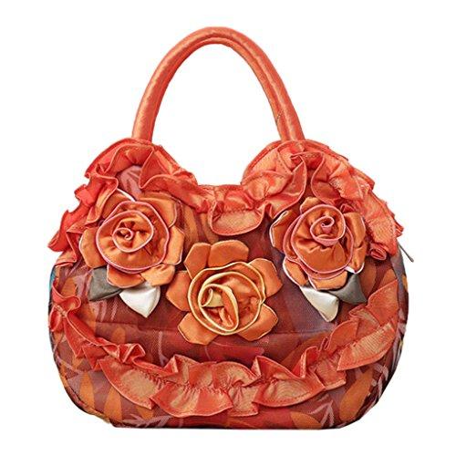 Lady Casual Con Flower Women Bolso Simple Dabixx Compras Naranja Bolsillo Lienzo Cremallera De fqEwxIz