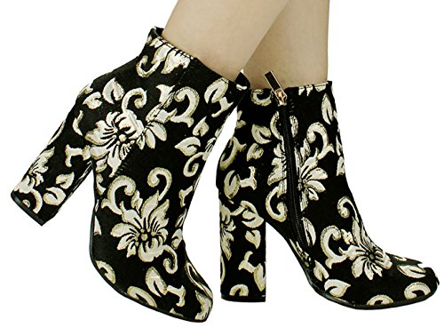 Women Embroider Floral Printed/ Plain Faux Suede/ PU Almond Toe Zip Block Heel Ankle Booties Black Gold Rbfg8