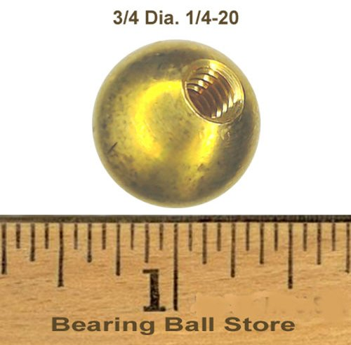 66 3/4'' threaded 1/4-20 brass balls drilled tapped lamp finials by Bearing Ball Store