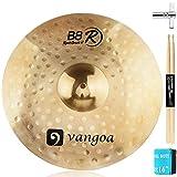 Vangoa Crash Cymbal, 16 Inch B8 Thin Crash Cymbal Set with Mute, Sticks and Drum Key