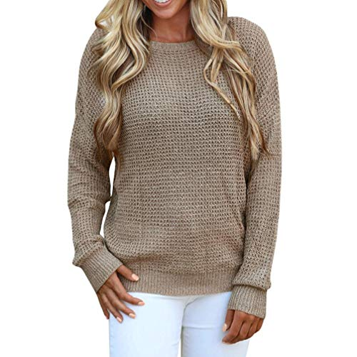 Rambling New Women's Long Sleeve Criss Cross Sexy Backless Casual Loose Knit Pullover Sweaters by Rambling (Image #1)