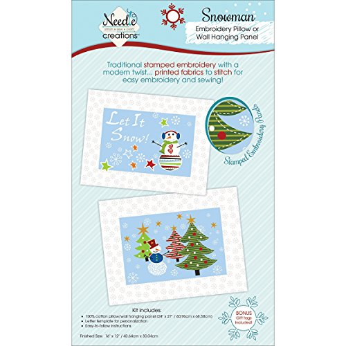Christmas Pillow/Wall Art Panel For Embroidery-Snowman