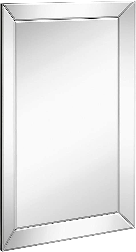 Amazon Com Large Framed Wall Mirror With Angled Beveled Mirror Frame Premium Silver Backed Glass Panel Vanity Bedroom Or Bathroom Luxury Mirrored Rectangle Hangs Horizontal Or Vertical 20 X 30 Home