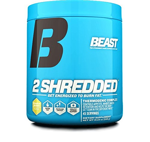 Beast Sports Nutrition – 2 Shredded, Promotes Increase in Daily Energy, Burns Body Fat and Controls Appetite (Tropical Breeze, 10.23 oz)