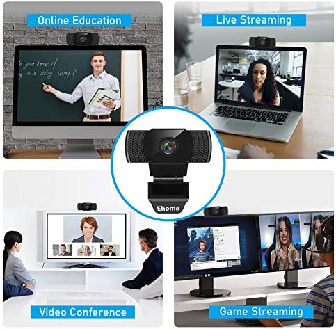 Webcam with Microphone, Ehome 1080P USB 2.0 Noise-Cancelling Web Camera Plug and Play Rotatable Laptop Web Cam for Desktop PC Video Calling Online Class Conferencing Streaming Recording Gaming
