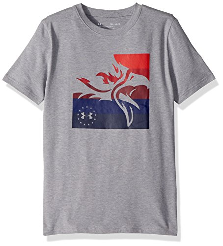 Under Armour Boys' Freedom USA Eagle T-Shirt , Steel Light Heather (035)/Red, Youth Medium ()