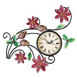 Poinsettia Scrollwork Wall Clock