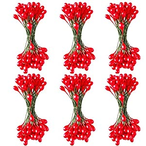 Sun Forever 600 Pieces Holly Berries Artificial Craft Berry Stems on Wire for Christmas Decorations 112