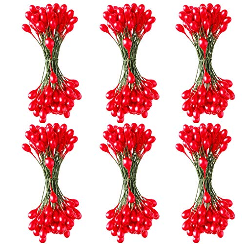 Sun Forever 600 Pieces Holly Berries Artificial Craft Berry Stems on Wire for Christmas Decorations (Red)