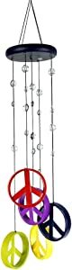 Gift Plus Wind Chimes - Peace Sign Wind Chime - Peace Wind Chimes, Peace Wind Chimes - 5 Colorful Metal Ringers, Porch, Garden, Patio, TP7496