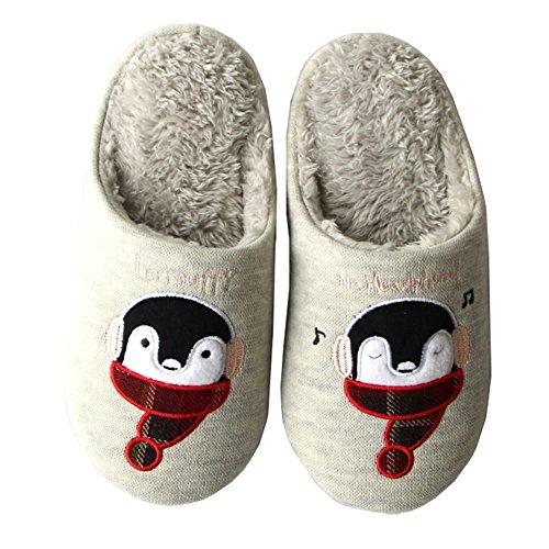 Slippers Men Gray Indoor Plush for Cat Slip Slippers Penguin Women Animal Hotmiss Winter Warm Cartoon and On qC0Av6U