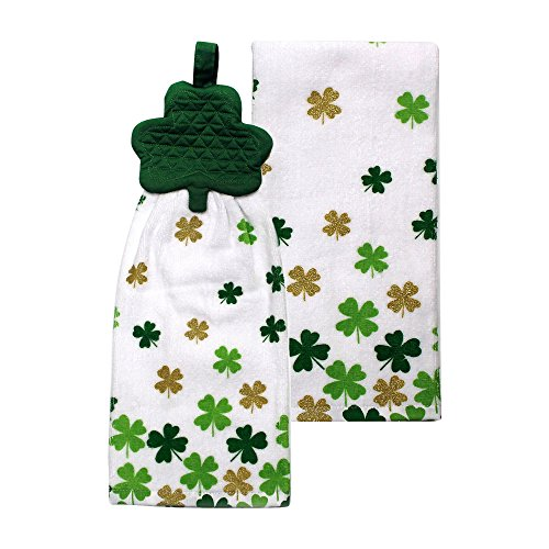 St Patricks Day Cotton Kitchen Dish Towels Set - Pack of 2 - Shamrock Print