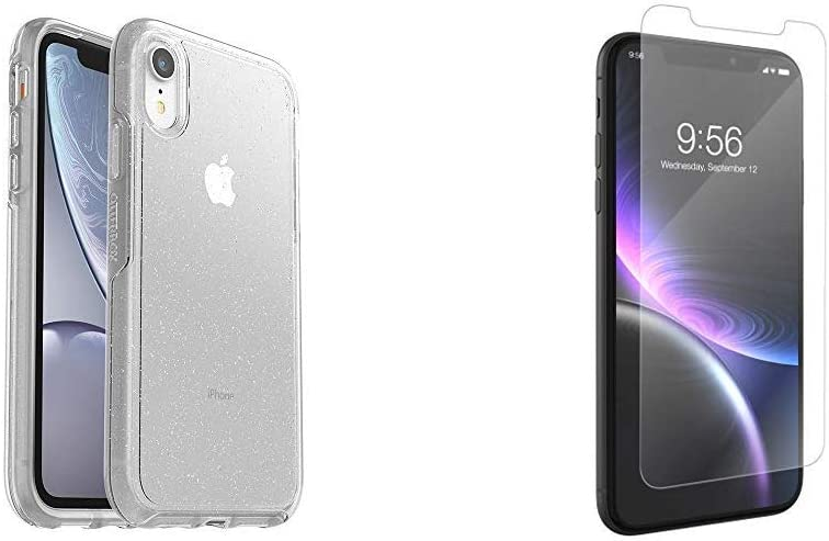 OtterBox Symmetry Clear Series Case for iPhone XR - Stardust (Silver Flake/Clear) & ZAGG InvisibleShield Glass+ Screen Protector for The Apple iPhone 11 and iPhone Xr