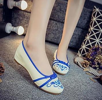 GuiXinWeiHeng xiuhuaxie Chaussures brod¨¦es, semelle tendineuse, style ethnique, chaussures en tissu f¨¦minin, mode, chaussures de danse confortables, red, 38