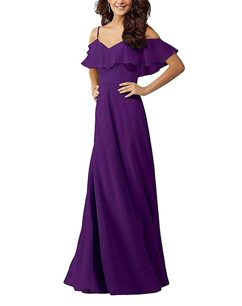 Purple YUSHENGSM VNeck Spaghetti Straps Bridesmaids Dresses for Wedding Long Prom Beach Skirt