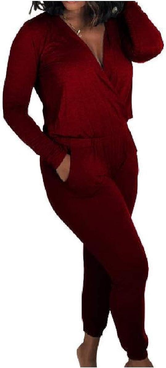 Zimaes-Women Casual Cozy Long-Sleeve Pure Color Deep V-Neck Jumpsuit Romper