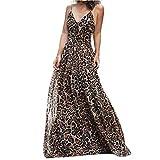 Libermall Women's Dresses Sexy V Neck Leopard Print High Waist Evening Party Long Maxi Dress Beach Sundress Khaki