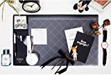 Desk Mats Artificial PU Leather Gaming Mouse Pad Protector Laptop Desk Pads with Pockets and Dividing Rule Scale (black)