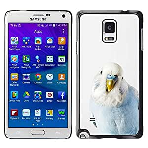 Be Good Phone Accessory // Dura Cáscara cubierta Protectora Caso Carcasa Funda de Protección para Samsung Galaxy Note 4 SM-N910 // Parrot Baby Blue White Bird Tropical