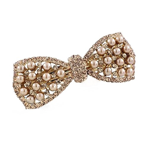 Tinksky Rhinestone Decorated Barrette Ponytail