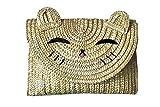 MILATA Cat Shape Straw Woven Crossbody Bag Cute Fashion Summer Beach Clutch Purse