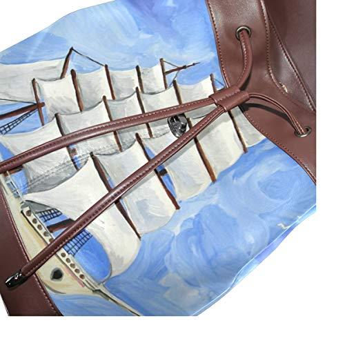 Kvinnor PU-läder astronira hav segling skepp gouache ryggsäck handväska resa skola axelväska ledig dagväska