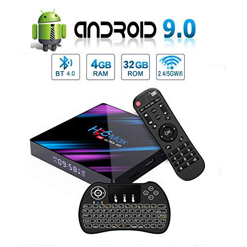 H96 MAX Android 9.0 TV Box, EstgoSZ 4GB+32GB Android Box with Backlit Wireless Keyboard USB 3.0 BT 4.0 Dual WiFi 2.4G 5G…