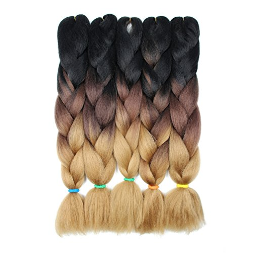 JIAMEISI Three Tone Ombre Jumbo Braid Hair Extension 5Pcs/Lot 100g/pc Kanekalon Fiber for Twist Braiding Hair (Black-Dark Brown-Light - Tone Twist Two