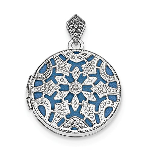 Rhodium-Plated Sterling Silver and Blue Vintage-Style Round Locket Pendant (20MM) by The Men's Jewelry Store (for HER)
