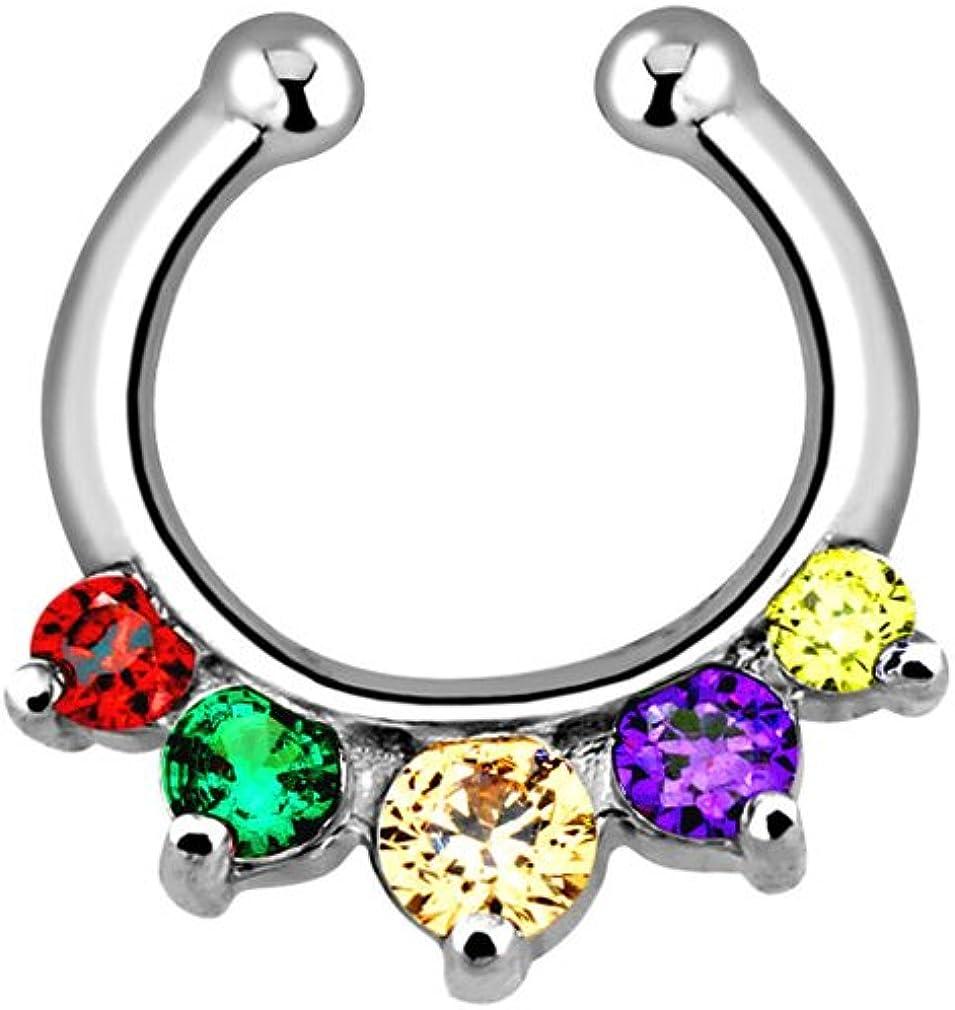 Five Rainbow CZ Gem Stone Fake Septum Clicker Ring