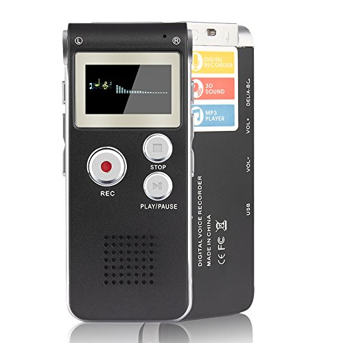 ACEE DEAL Digital Voice Recorder 8GB, Multifunction Recorder Dictaphone with Built-in Speaker, Silver-on-Black