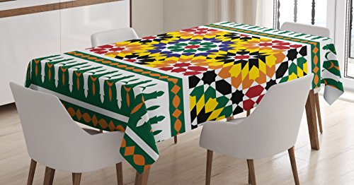 Moroccan Tablecloth Decor by Ambesonne, Vibrant Old Fashion Indie African Tribal Pattern with Eastern Influences Print, Dining Room Kitchen Rectangular Table Cover, 60 W X 84 L Inches, Multi