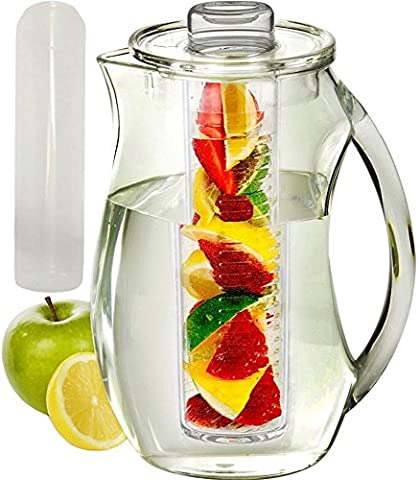 Infused Water Pitcher: Shatterproof Acrylic, Best for Fresh Healthy Homemade Fruit Flavored Infusion Drinks, Iced Juice & Beverage, 93 Oz (3 Quart), with Ice Core & Free Infusing Water Recipes E-book