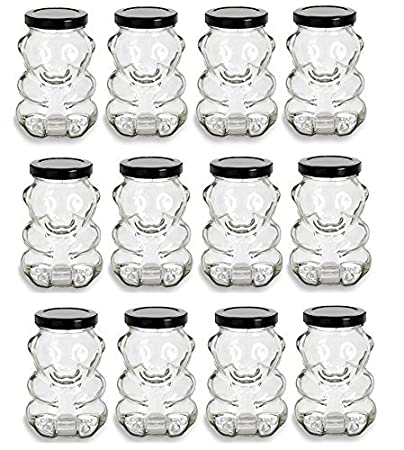 Nakpunar 9 oz Glass Bear Jars with Lids for Honey, Candies, Piggy Banks (1, Gold) AX-AY-ABHI-52819