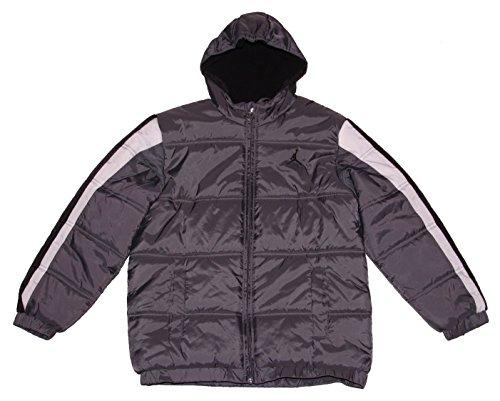 Nike Boy's Jordan Jumpman Hooded Puffy Jacket Large - Grey/Black/White