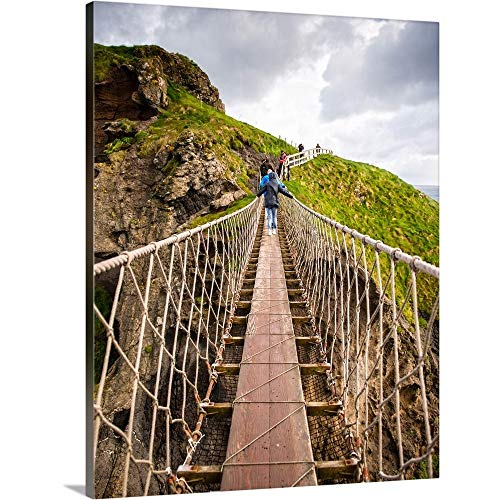 GREATBIGCANVAS Gallery-Wrapped Canvas Carrick-a-Rede Rope Bridge, County Antrim, Northern Ireland by Circle Capture 30