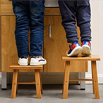 Size : S Portable Bamboo Stool Fashion Creative Stool Home Change Shoes Foot Stool Solid Wood Chair Low Stool Coffee Table Sofa Stool Square Bench