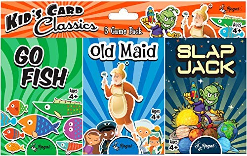 Regal Games Classic Card Games 3 Game Set (Old Maid - Go Fish - Slapjack)
