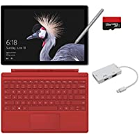 2017 New Surface Pro Bundle ( 5 Items ): Core i5 4GB RAM 128GB Tablet, Surface Pro 4 Type Cover Red, New Surface Pen Platinum, 128GB Micro SD Card, Mini DisplayPort Adapter