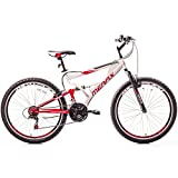 Merax Falcon Full Suspension Mountain Bike Aluminum Frame 21-Speed 26-inch Bicycle (White & Red)