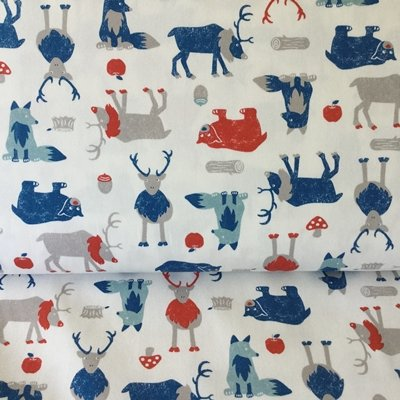 COTTON LINEN MIX FABRIC - Half Yard - Bears Wolves Woodland on Off White - Cotton Linen Mix - SEV031 - by By Sevenberry of Japan