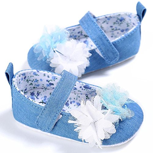 Elaco Toddler Newborn Girl Soft Sole Flower Baby Shoes Kid Crib Shoes (0~6 Month, Light Blue)
