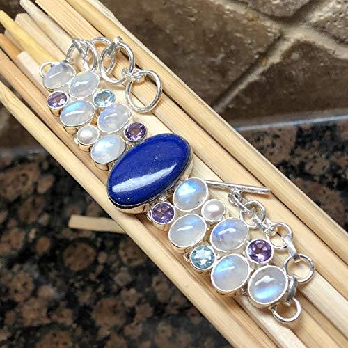 AAA Natural Lapis Lazuli, Rainbow Moonstone, Blue Topaz, Purple Amethyst, Freshwater Cultured Pearl 925 Solid Sterling Silver Designer Bracelets 7 1/2