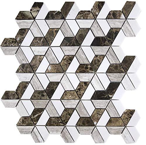 - Bianco Sivec Extra White Marble Florentine Dark Emprador Mesh Mounted Mosaic Polished